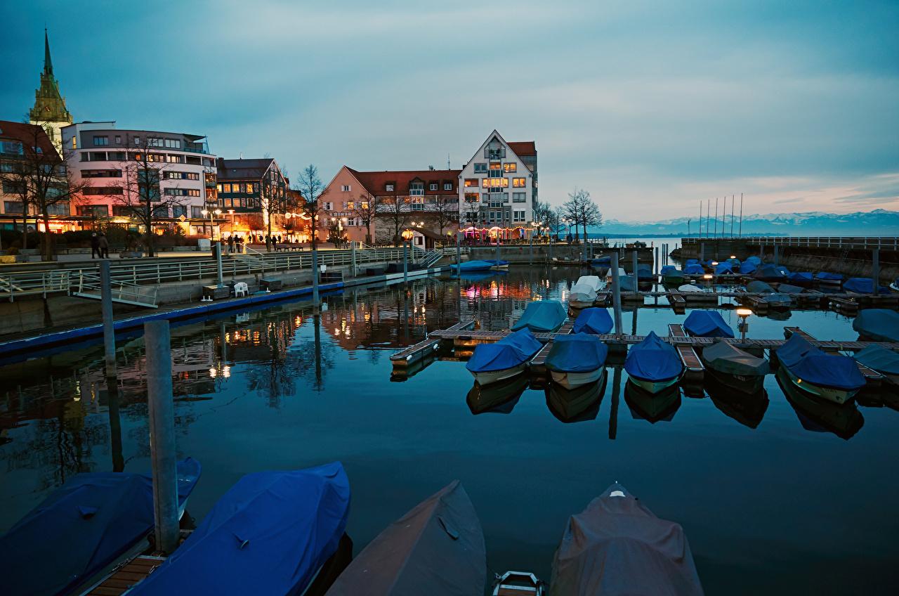 Photos Germany Lake Constance, Friedrichshafen Boats Marinas Cities Building Pier Berth Houses
