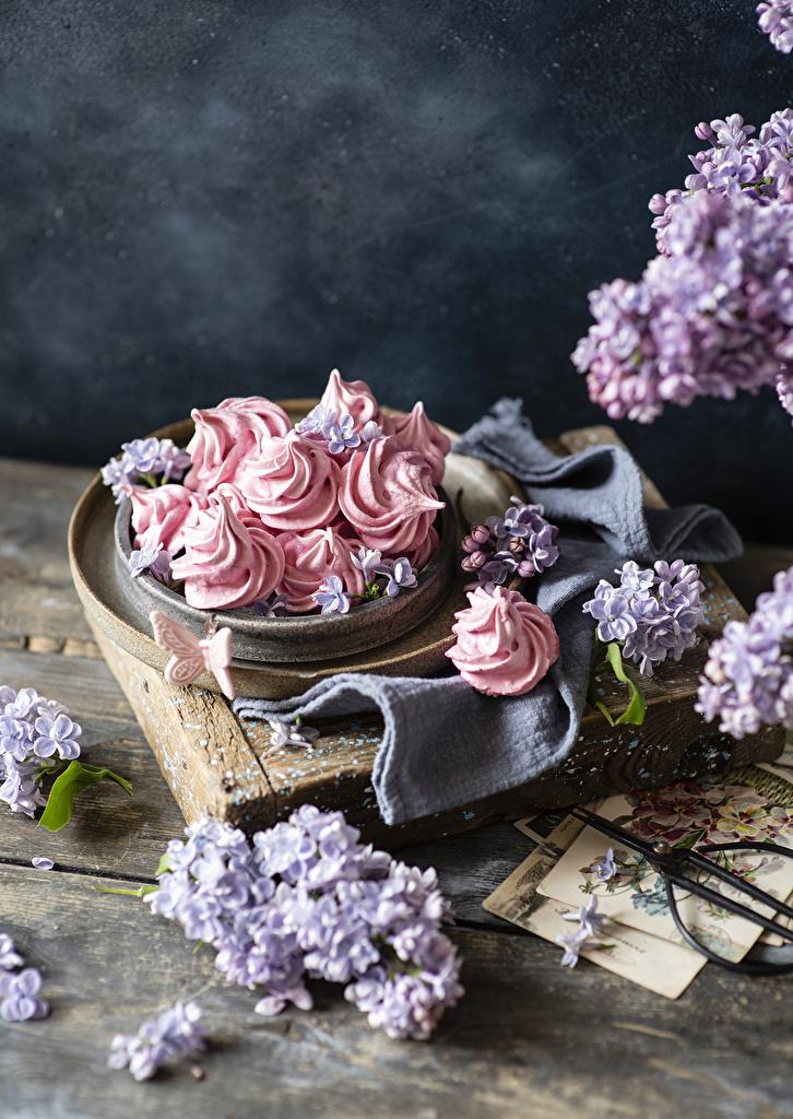 Fotos Schmetterling Zefir Blumen Flieder das Essen Süßware Bretter  für Handy Schmetterlinge Blüte Syringa Lebensmittel Süßigkeiten