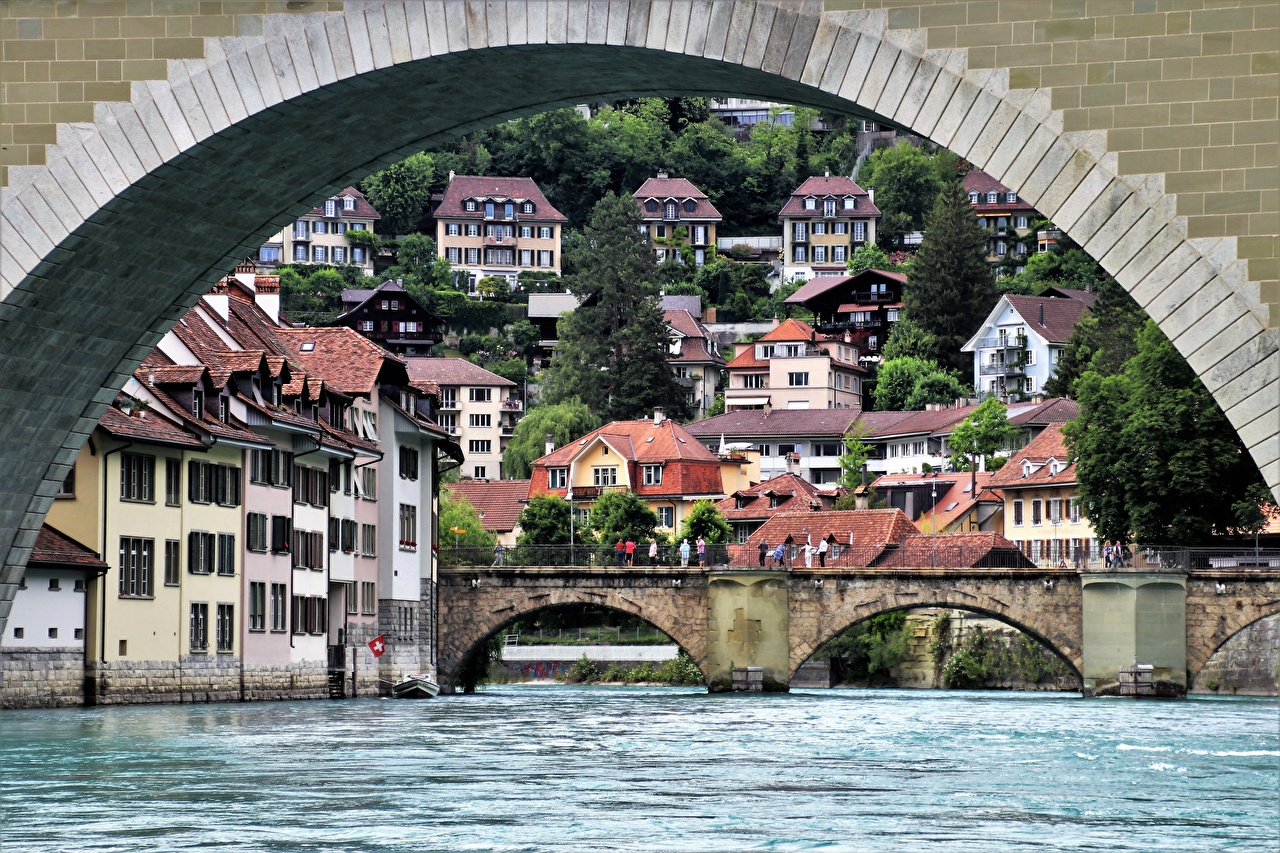 Photos Bern Switzerland Arch river Aare bridge Cities Building Bridges Rivers Houses