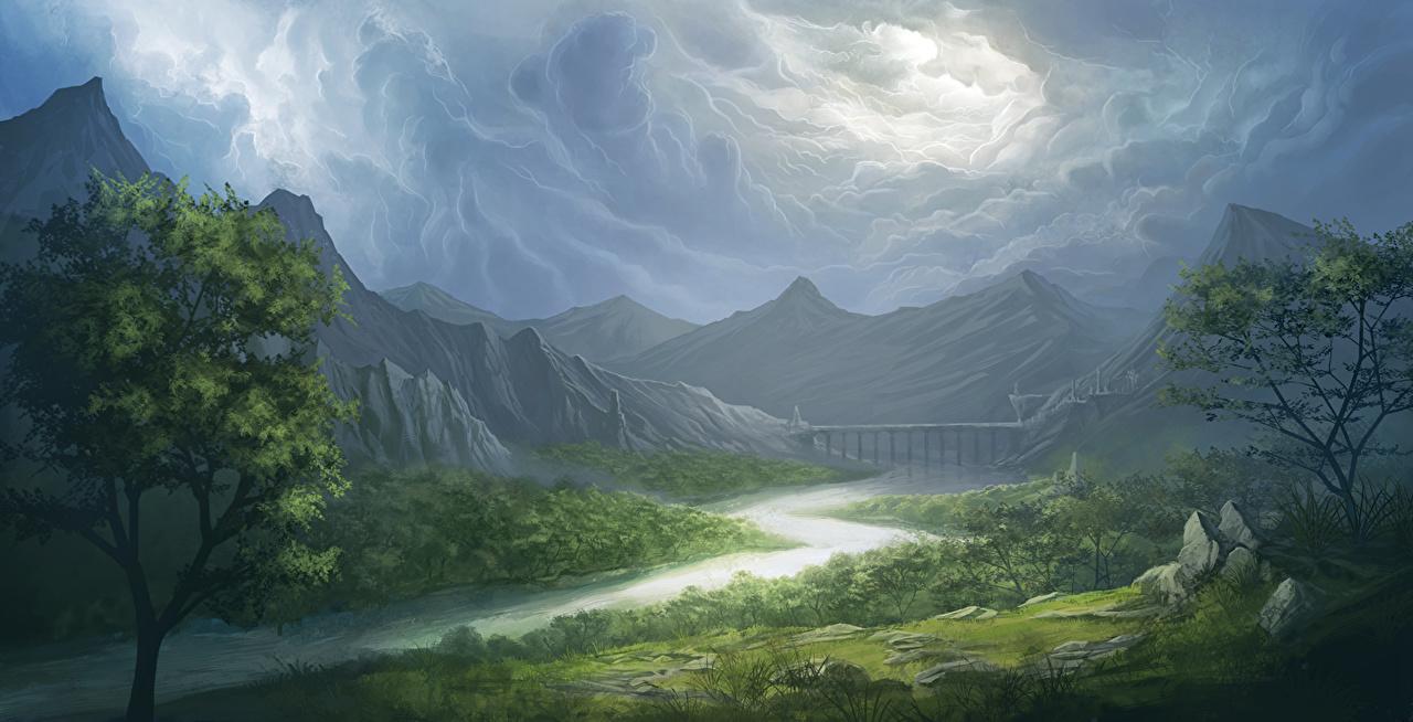 Photos storm cloud Nature Mountains landscape photography Rivers Thundercloud mountain Scenery river