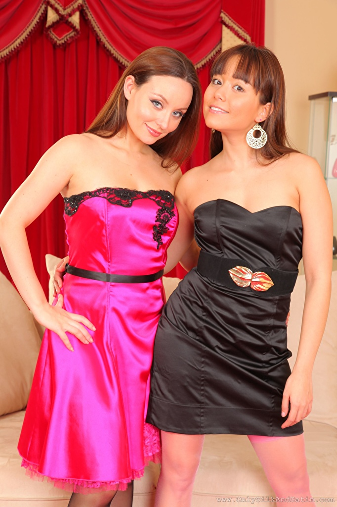 Pictures Petra So Carla Brown Brown haired Smile 2 Girls Hands Staring frock  for Mobile phone Two female young woman Glance gown Dress
