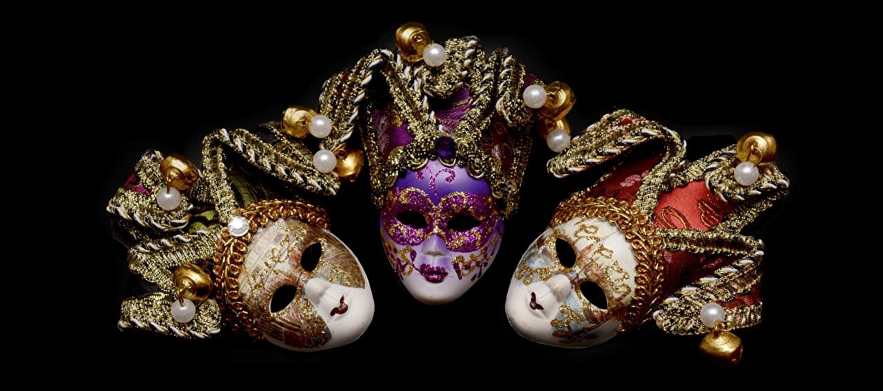 Bilder Maske Drei 3 Karneval und Maskerade Schwarzer Hintergrund Schmuck