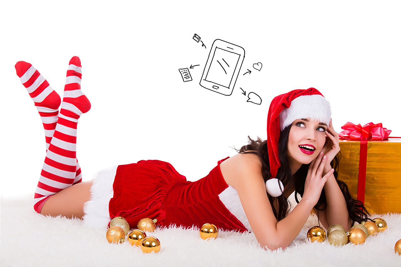 Desktop Wallpapers Christmas Knee highs Brown haired Girls Winter hat Legs Gifts Balls Uniform White background New year female young woman present