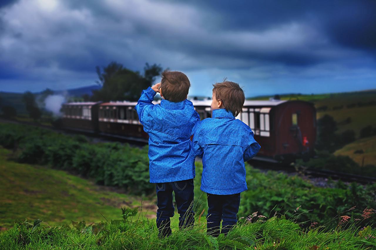 Photo Boys child 2 Jacket Trains Evening Children Two