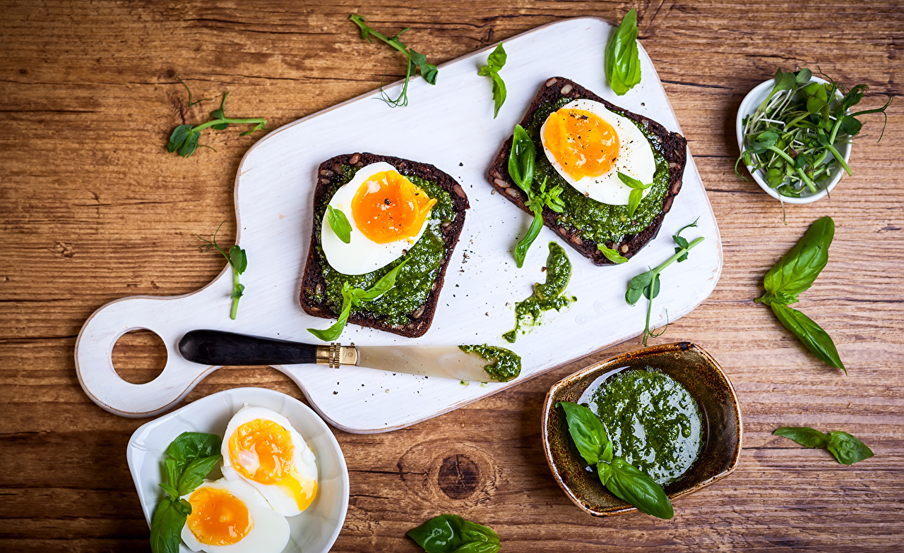 Desktop Wallpapers Leaf egg Breakfast Fast food Butterbrot Food Vegetables Cutting board Foliage Eggs