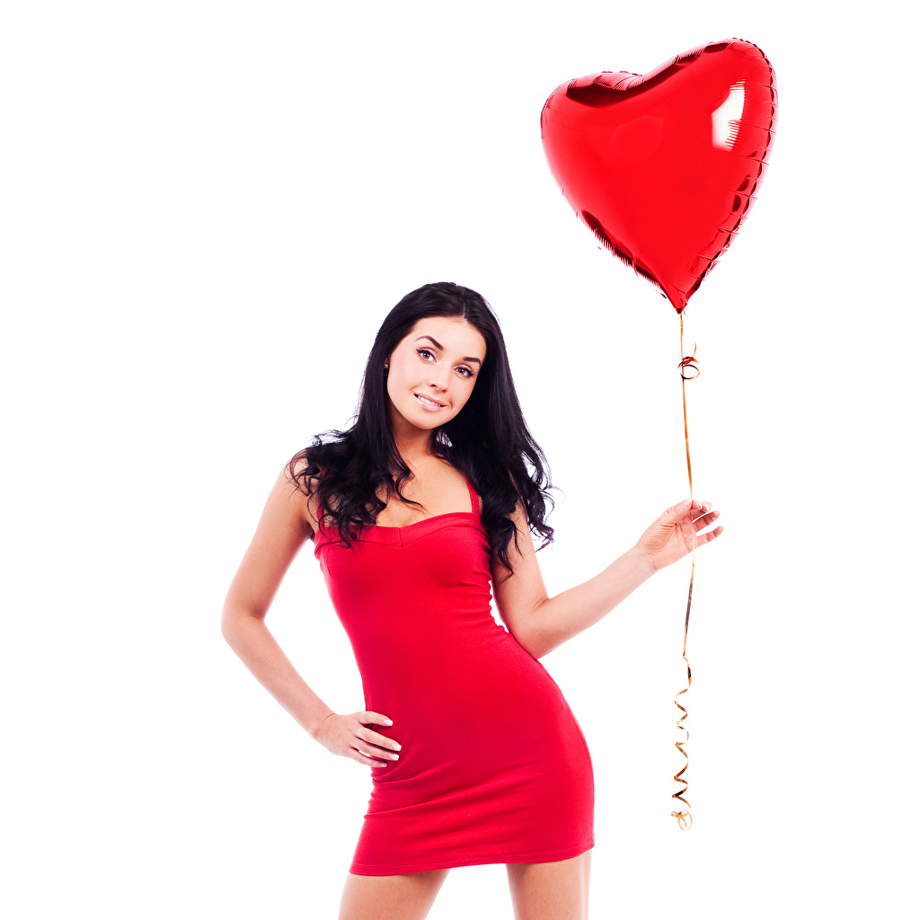 Image Valentine's Day Brunette girl Heart balloons Girls Hands White background frock Toy balloon female young woman gown Dress