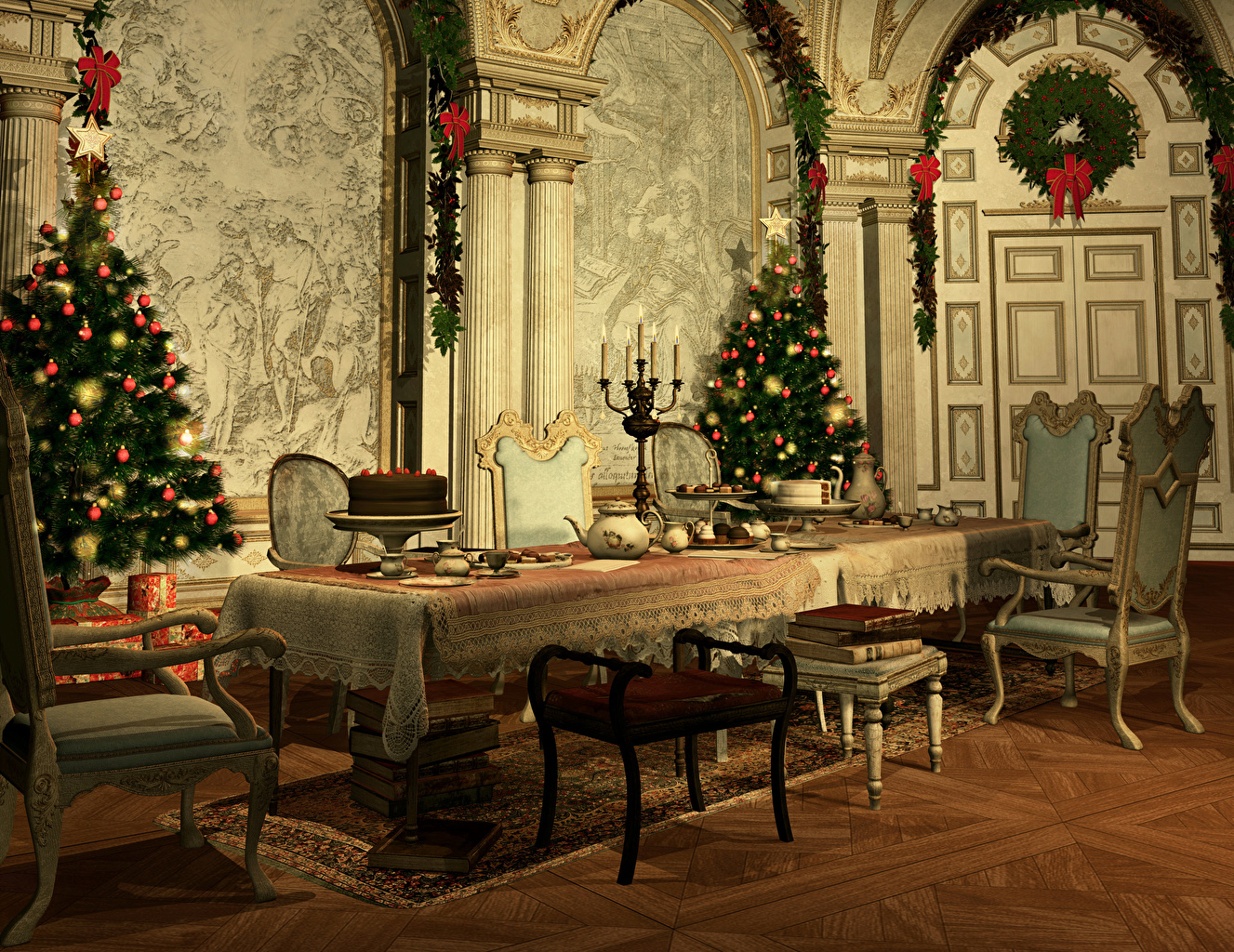 Photo New year 3D Graphics New Year tree Interior Table Chairs Design Christmas Christmas tree Chair