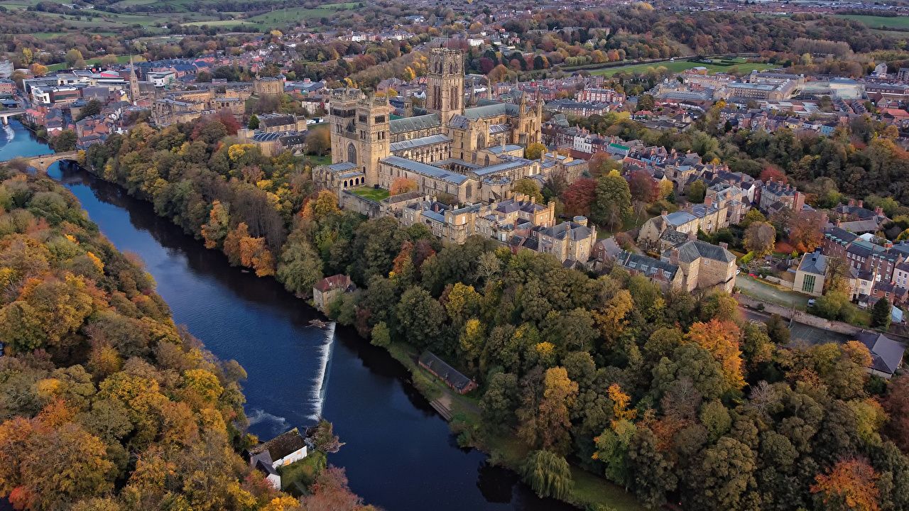 Wallpaper England Durham Autumn Rivers From above Houses Cities river Building