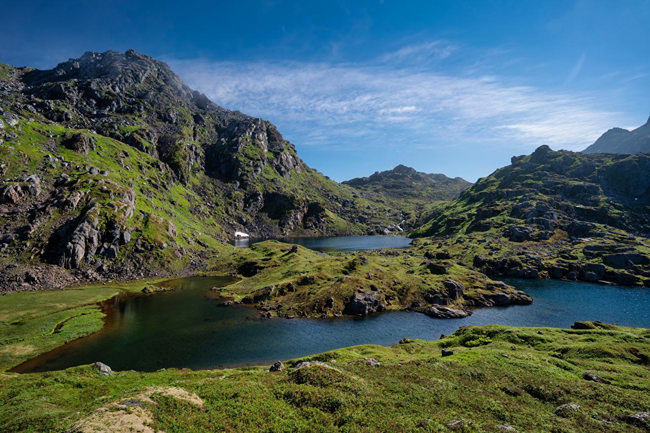 Bilder von Lofoten Norwegen Sommarset Berg Natur Gebirge