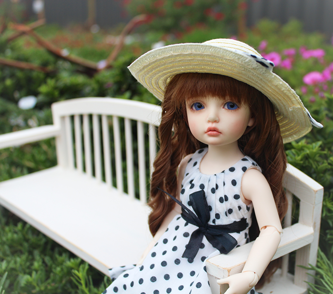 Pictures Brown haired Doll BJD doll Hat Bench Sitting Toys Dress