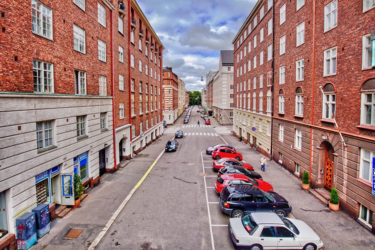 Wallpaper Helsinki Finland Street Houses Cities Building