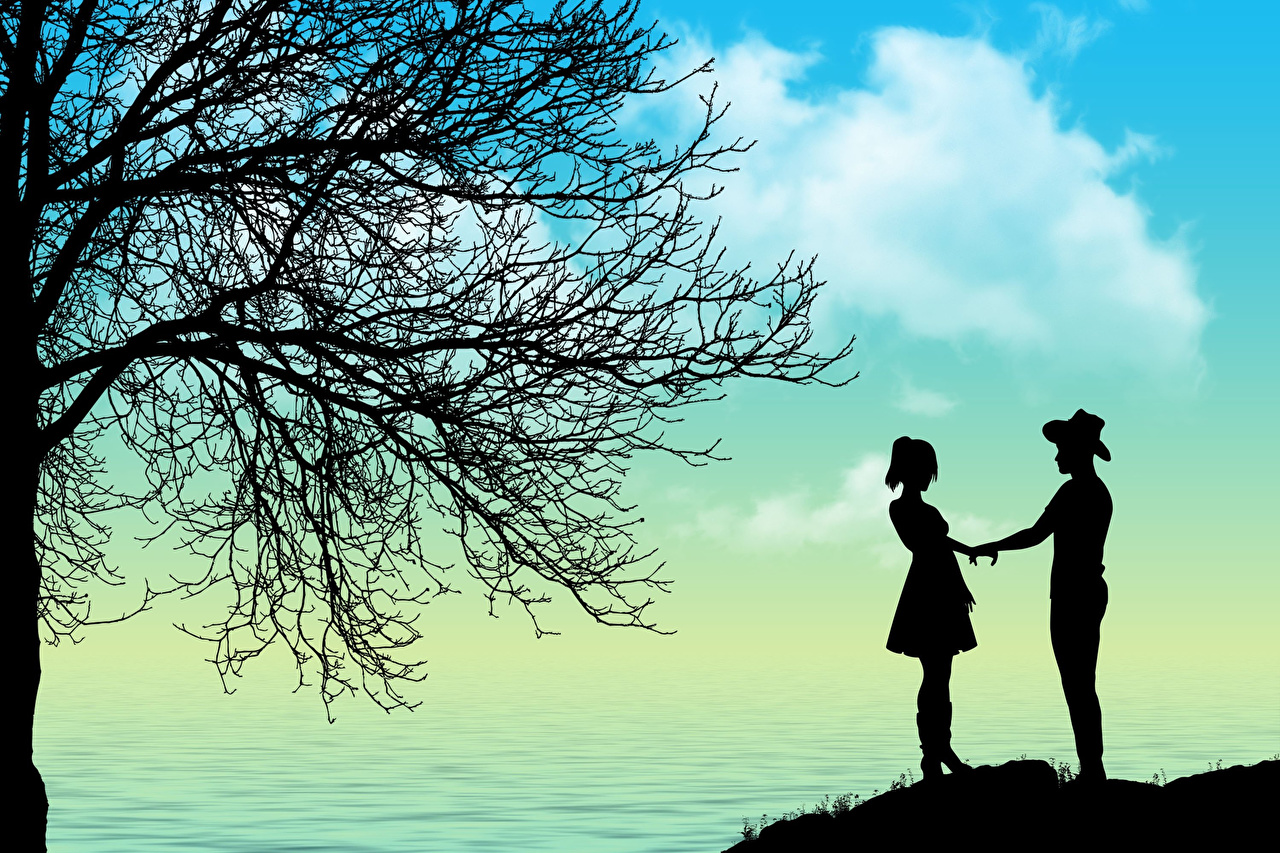 Desktop Wallpapers Dating Silhouette Two Love Branches on a date silhouettes 2