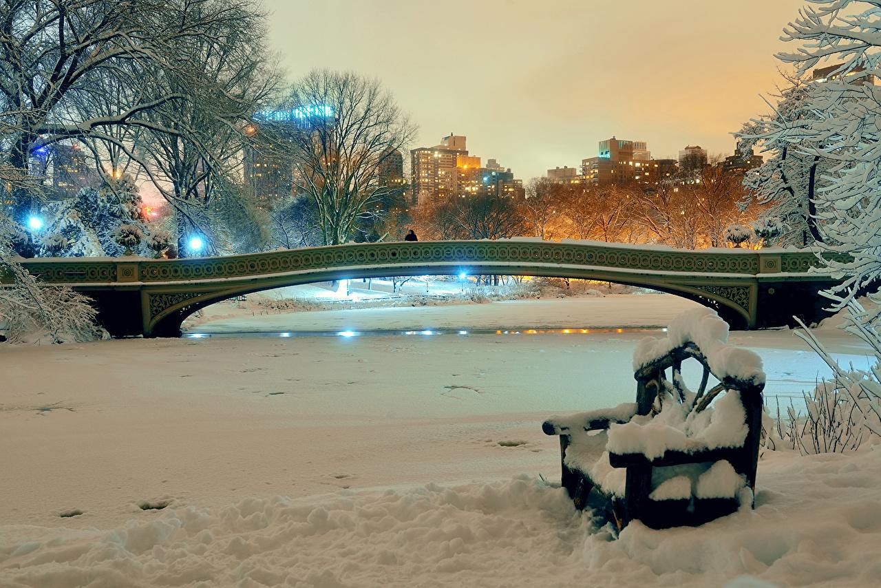 Photo New York City USA Winter Nature Bridges Snow Parks Bench night time bridge park Night