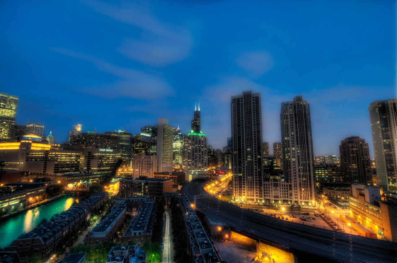 Desktop Wallpapers Chicago city USA Illinois HDR Night Skyscrapers Cities Building HDRI night time Houses