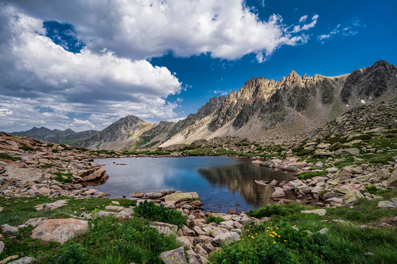 Image Andorra Lakes Pessons Nature mountain Lake Scenery Stones Clouds Mountains landscape photography stone