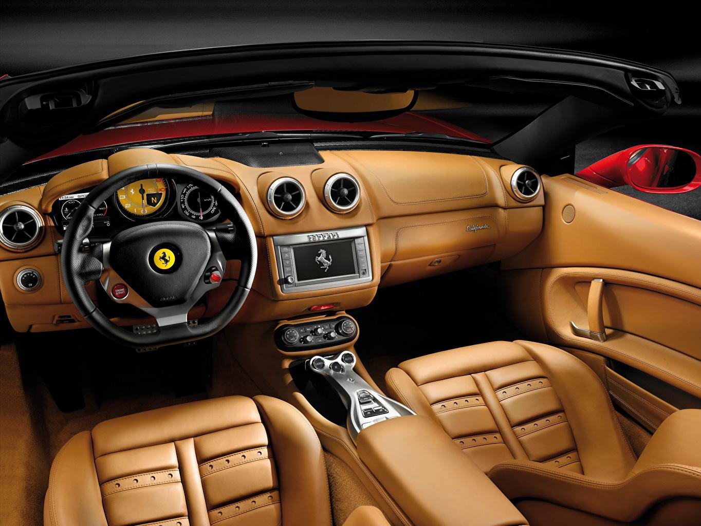 Ferrari Salons Le cuir Volant directionnel Luxe voiture, automobile, chère, chères, cuire Voitures
