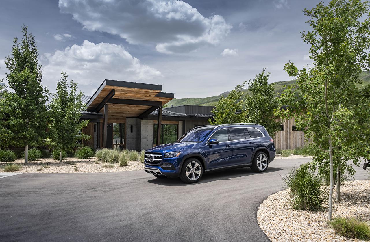 Desktop Wallpapers Mercedes-Benz 2020 GLS 450 4MATIC Blue Cars Metallic auto automobile