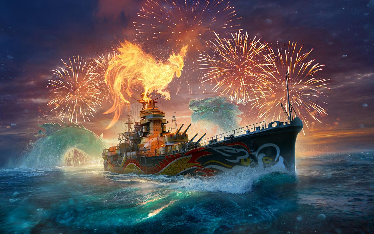 Desktop Wallpapers World Of Warship Fireworks Japanese Southern Dragon Ships vdeo game ship Games