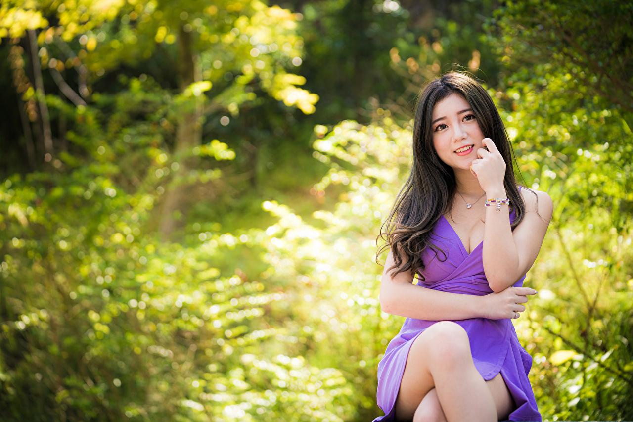 Bilder von Brünette unscharfer Hintergrund Mädchens Bein Asiatische sitzen Starren Kleid Bokeh junge frau junge Frauen Asiaten asiatisches sitzt Sitzend Blick