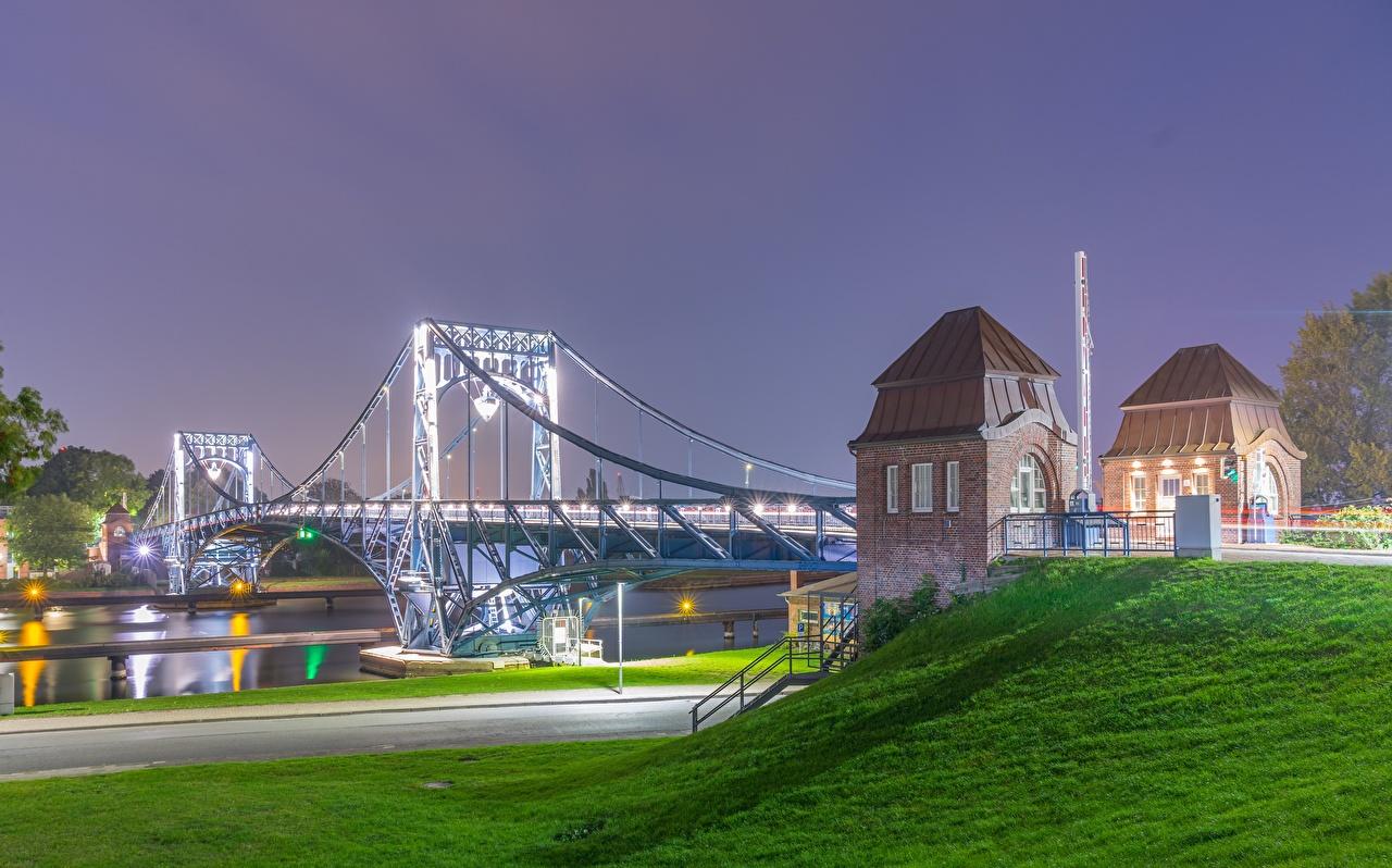 Photos Germany Kaiser Wilhelm Bridge, river Moselle, Trier, Rhineland-Palatinate Bridges Night Rivers Cities bridge night time