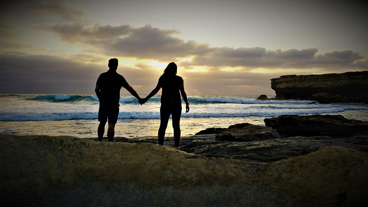 壁紙 海岸 石 恋人 海 2 二つ シルエット 自然 ダウンロード 写真