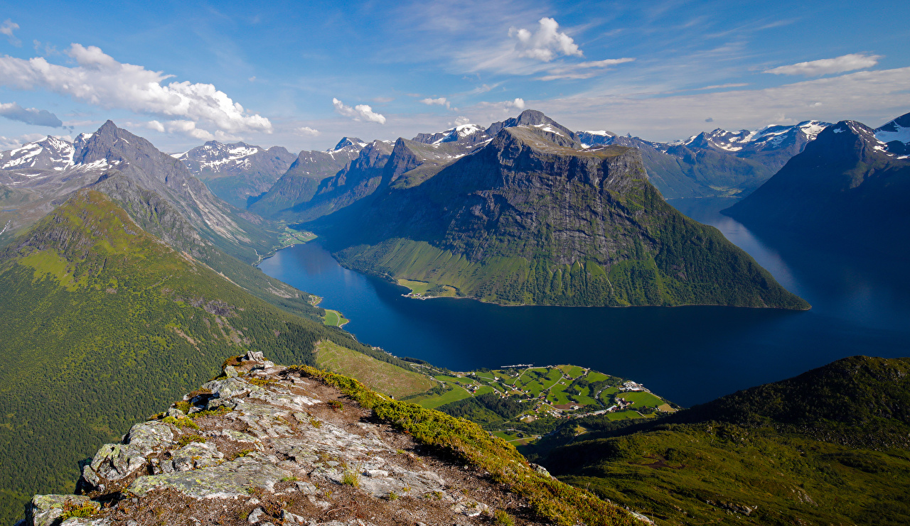 Picture Norway Sunnmore Fjord Nature mountain Clouds Mountains