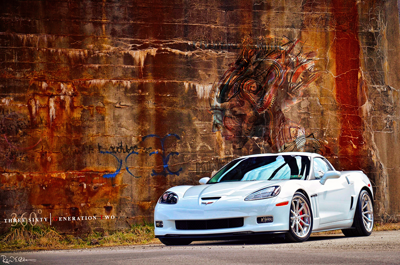 Image Chevrolet C6 By 360 Forged Willam Stern White Graffiti Wall Cars auto walls automobile