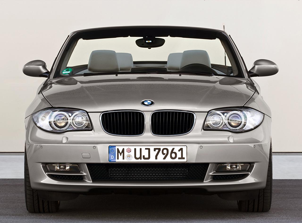 Foto BMW Cabriolet Silber Farbe Autos Vorne Metallisch Cabrio auto automobil