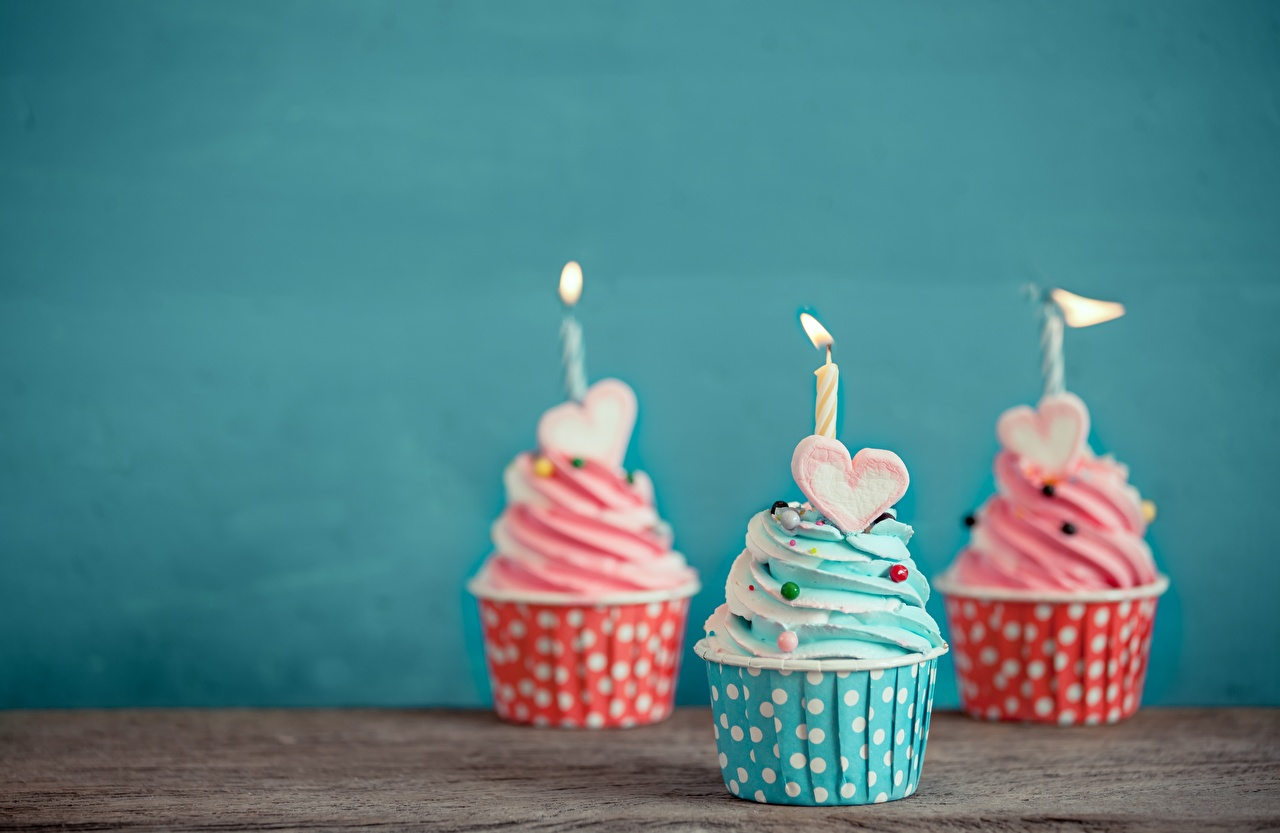 Image Heart Cupcake Food Candles Three 3 fairy cake