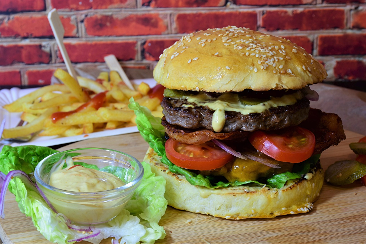 Picture Hamburger Buns Fast food Food Vegetables