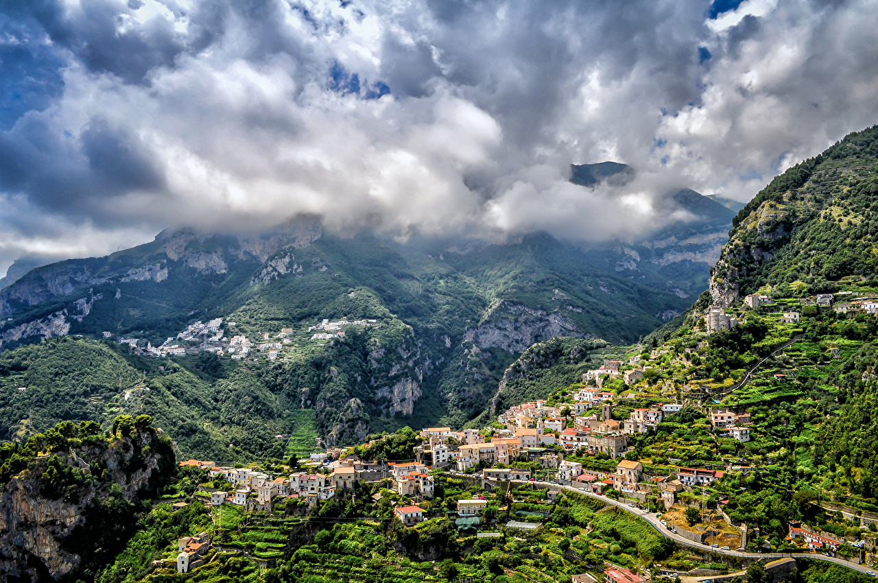Picture Cities Italy Clouds mountain Houses Amalfi Nature Mountains Building