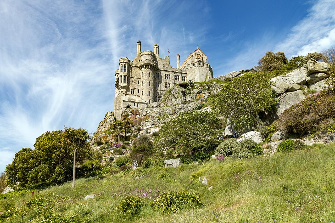 Image France St Michael's Mount Castles Grass Cities castle