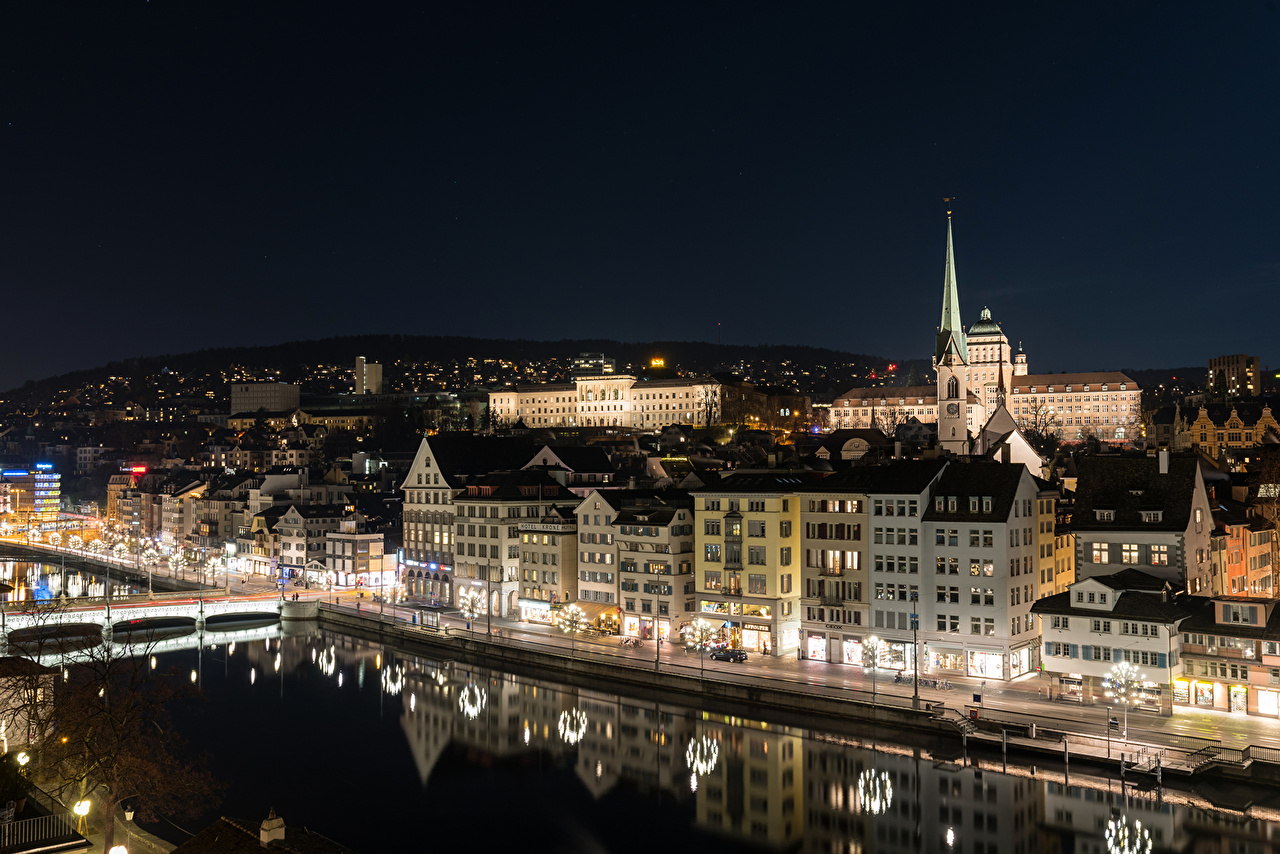 Pictures Zurich Switzerland Canal Rivers night time Street lights Houses Cities river Night Building