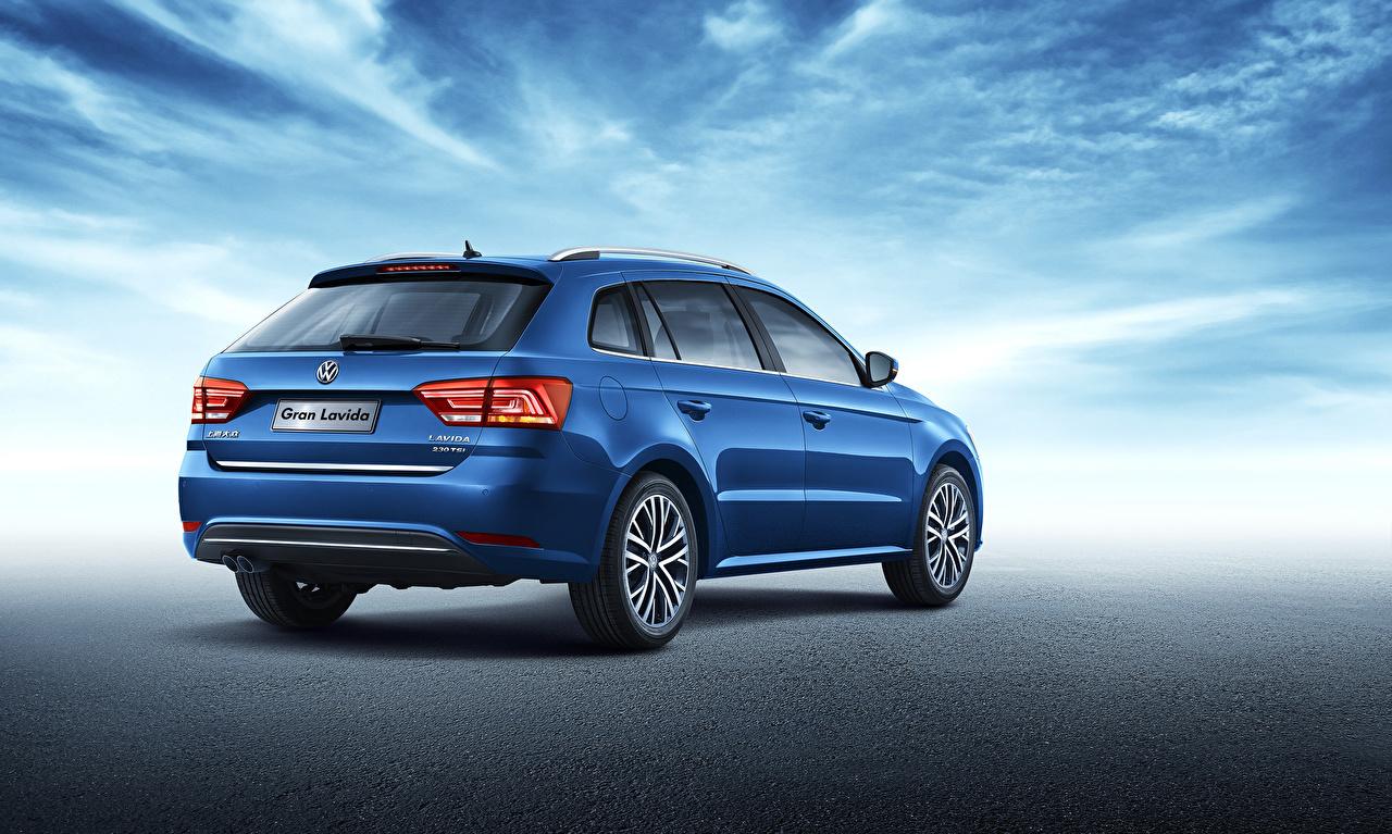 Wallpaper Volkswagen Station wagon 2015 Lavida Blue Cars Back view Estate car auto automobile