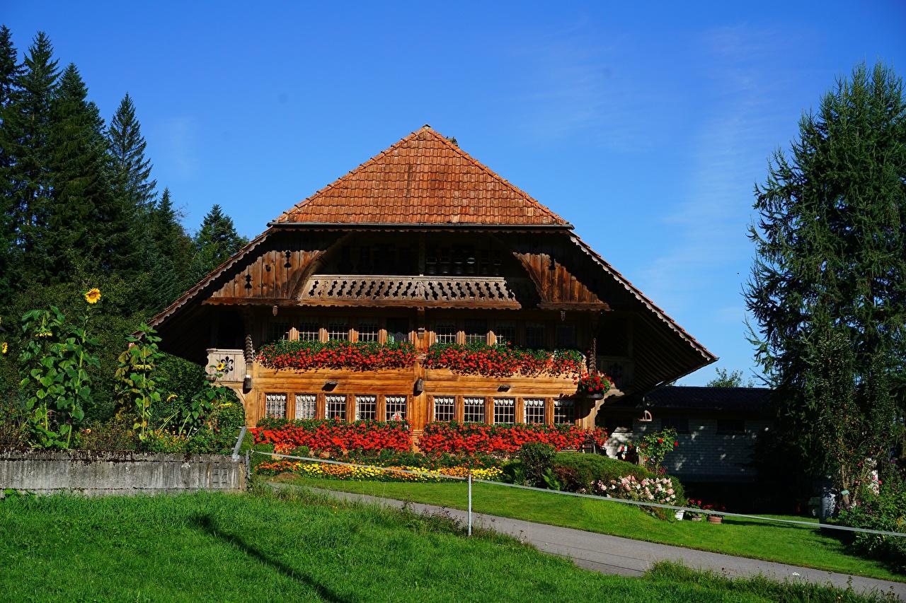 Desktop Wallpapers Switzerland Grass Houses Cities Building