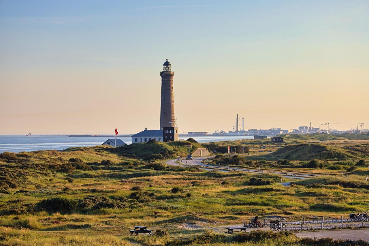 Wallpaper Denmark Skagen, Cape Grenen Lighthouses Cities