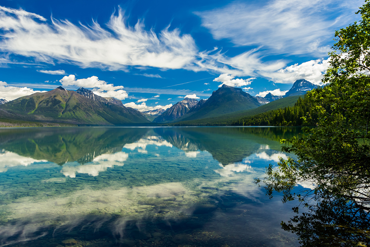 Picture USA Lake McDonald, Glacier National Park Nature mountain Sky Parks Reflection Clouds Mountains park reflected