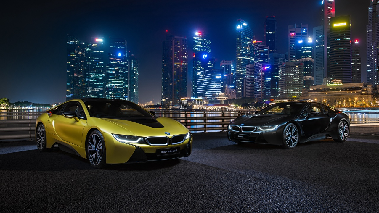Image BMW i8 Frozen Yellow Edition Two Gold color auto night time 2 Cars Night automobile