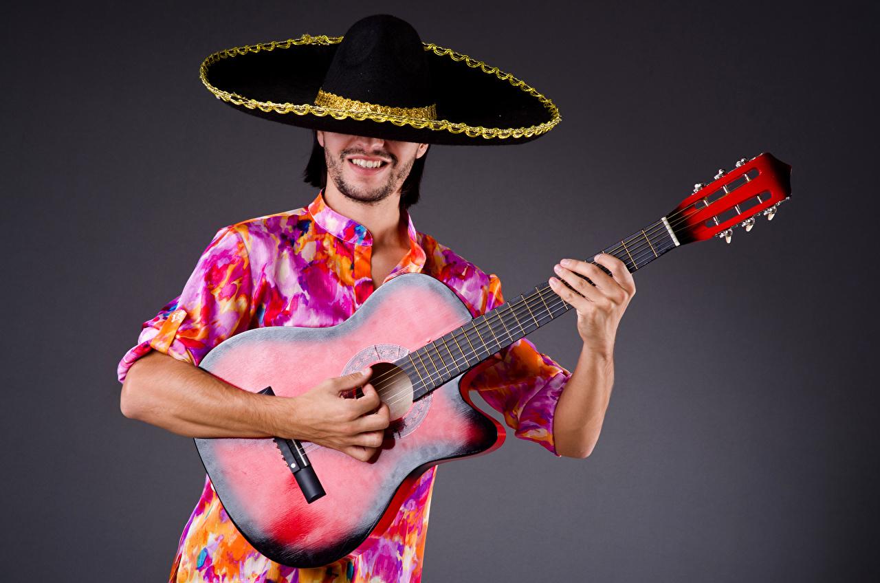 Fotos Mann Gitarre Musik Der Hut Hand Grauer Hintergrund