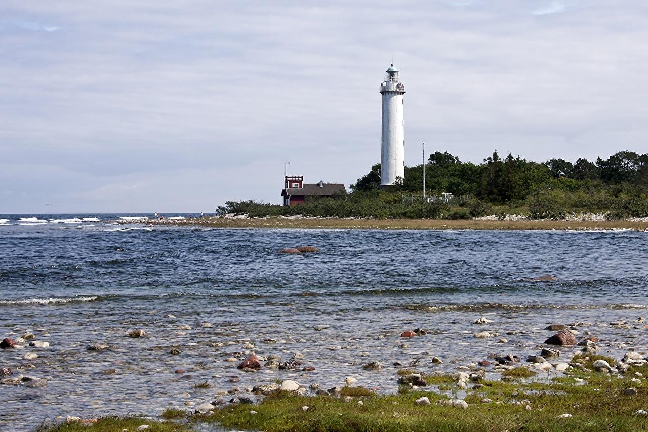 Bilder Schweden Lighthouse Long Erik, Island Of Oland Natur Leuchtturm Küste Steine