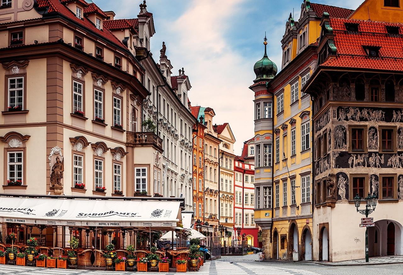 Images Prague Czech Republic Cafe Street Cities Building Houses