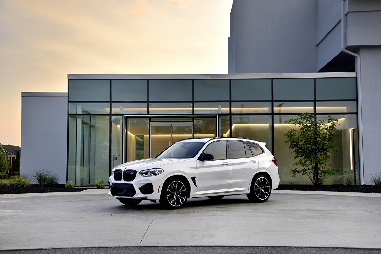 Wallpaper BMW CUV 2020 X3 M Competition White Cars Metallic Crossover auto automobile