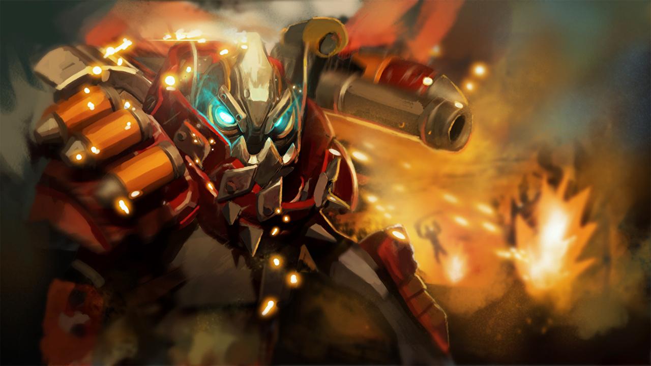 Bilder DOTA 2 Clockwerk Rüstung Helm Krieger Spiele computerspiel