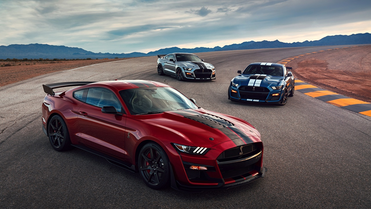 Wallpaper Ford Mustang Shelby GT500 2019 Red Three 3 automobile auto Cars