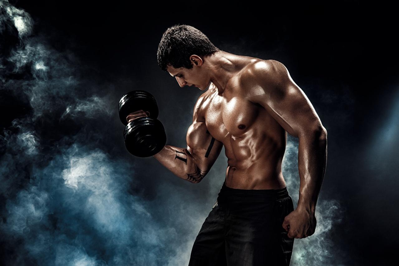 Fotos Mann Muskeln Körperliche Aktivität Schön Hantel sportliches Rauch Trainieren hübsch schöne hübsche schöner schönes hübscher Sport Hanteln