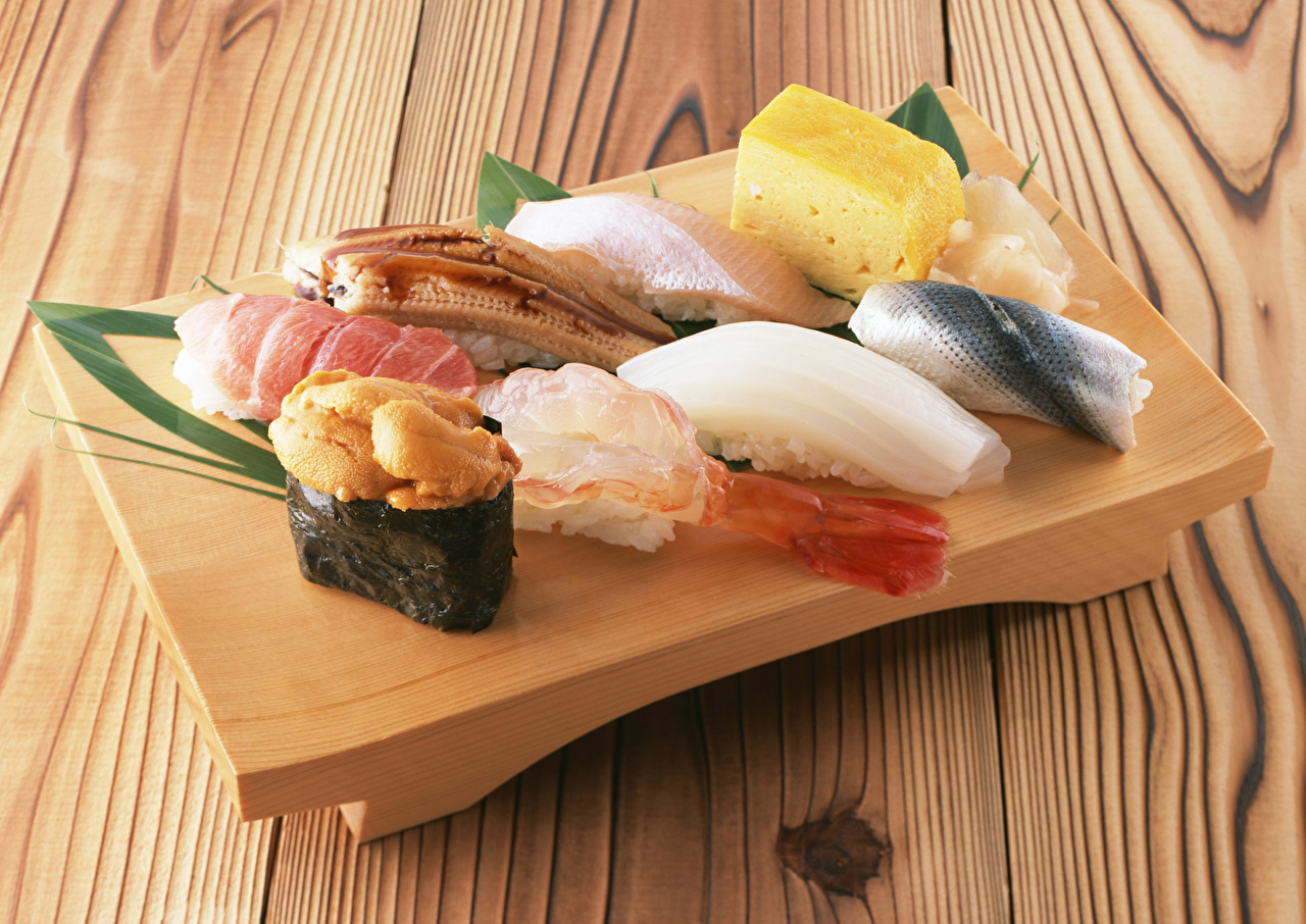Desktop Wallpapers Sushi Cheese Food Seafoods boards Wood planks
