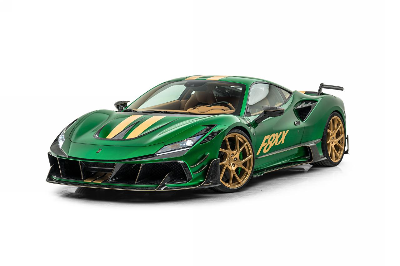 Foton Tuning Mansory F8XX, 2021 Grön bil Metallisk Vit bakgrund Bilar automobil