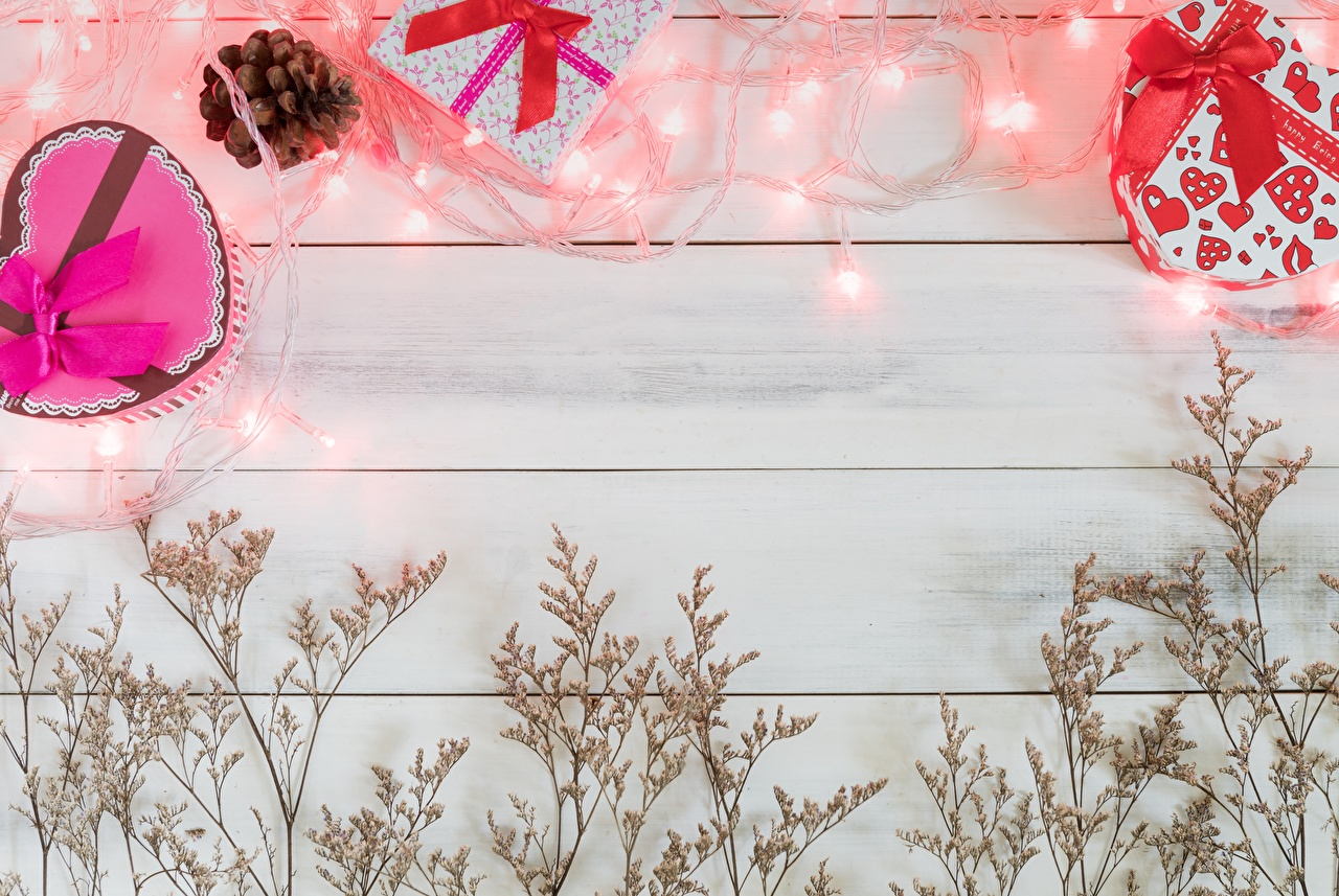 Image Valentine's Day present Fairy lights Template greeting card Wood planks Gifts boards