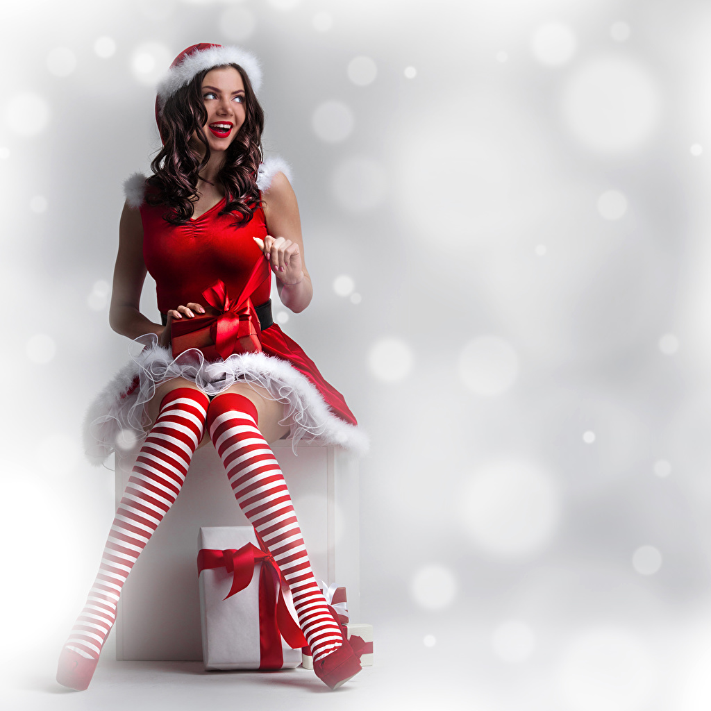 Images New year Knee highs Brown haired Smile Girls Legs present Uniform Christmas female young woman Gifts