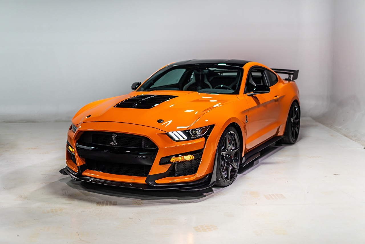 Image Ford Mustang Shelby GT500 2020 Orange Cars Metallic